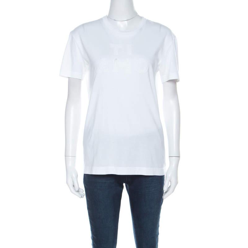 Dolce & Gabbana White Cotton Ti Amo Applique T Shirt S