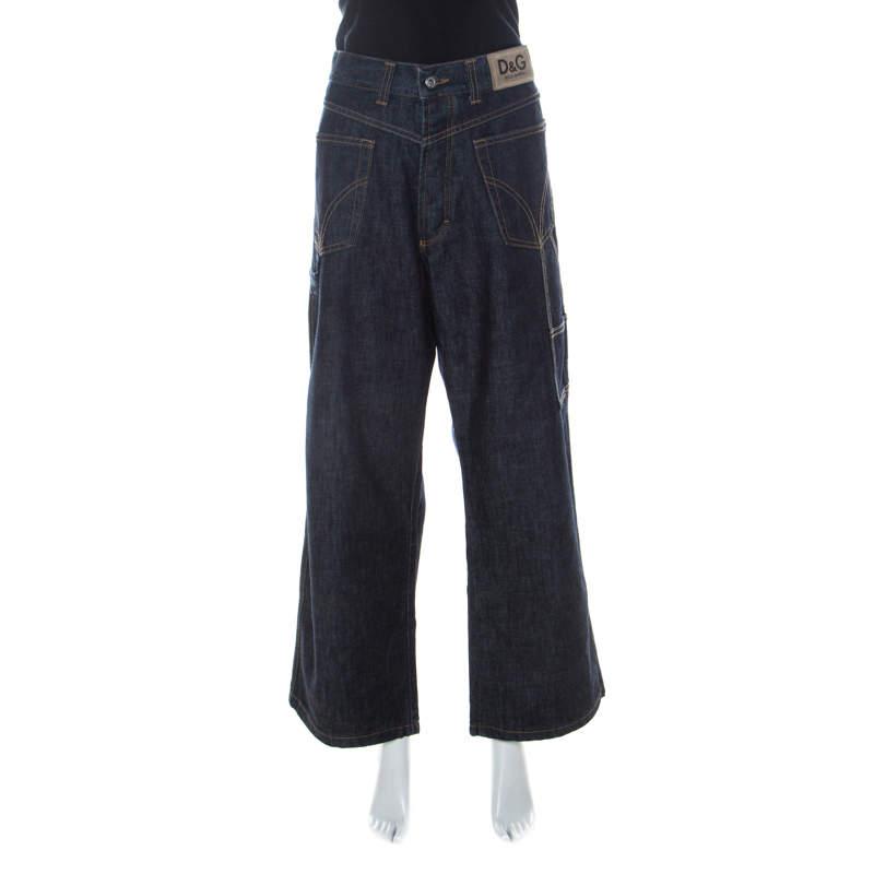 Dolce & Gabbana Indigo Denim Reverse Pocket Wide Leg Jeans XL