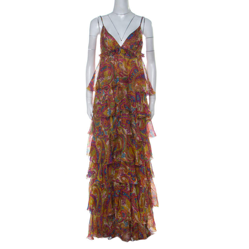 Dolce & Gabbana Multicolor Paisley Print Silk Tiered Ruffle Maxi Dress M