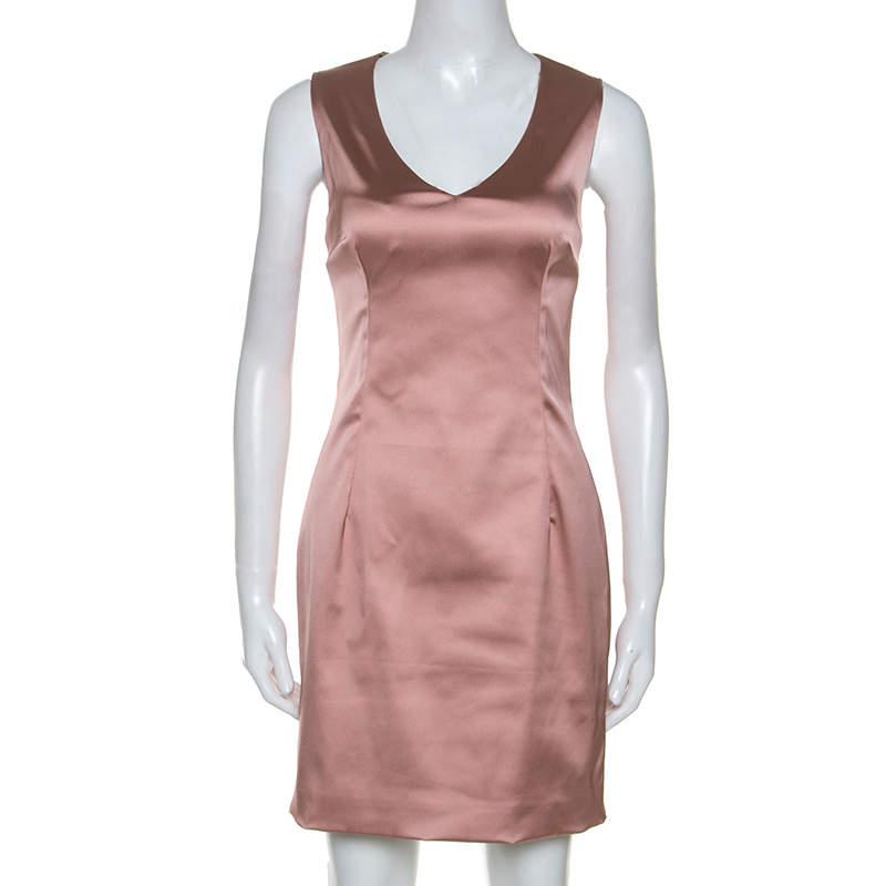 Dolce & Gabbana Rose Pink Satin Sleeveless Sheath Dress M