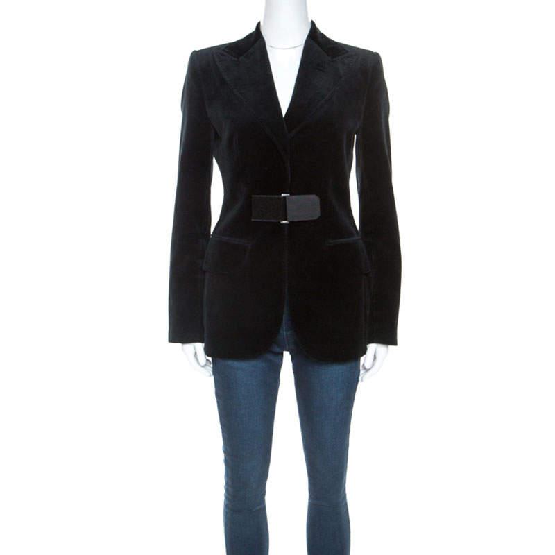 Dolce & Gabbana Black Velvet Velcro Closure Blazer S
