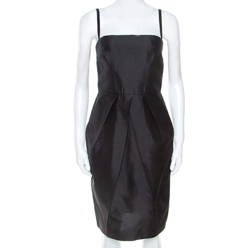 Dolce & Gabbana Black Taffeta Sleeveless Short Dress S