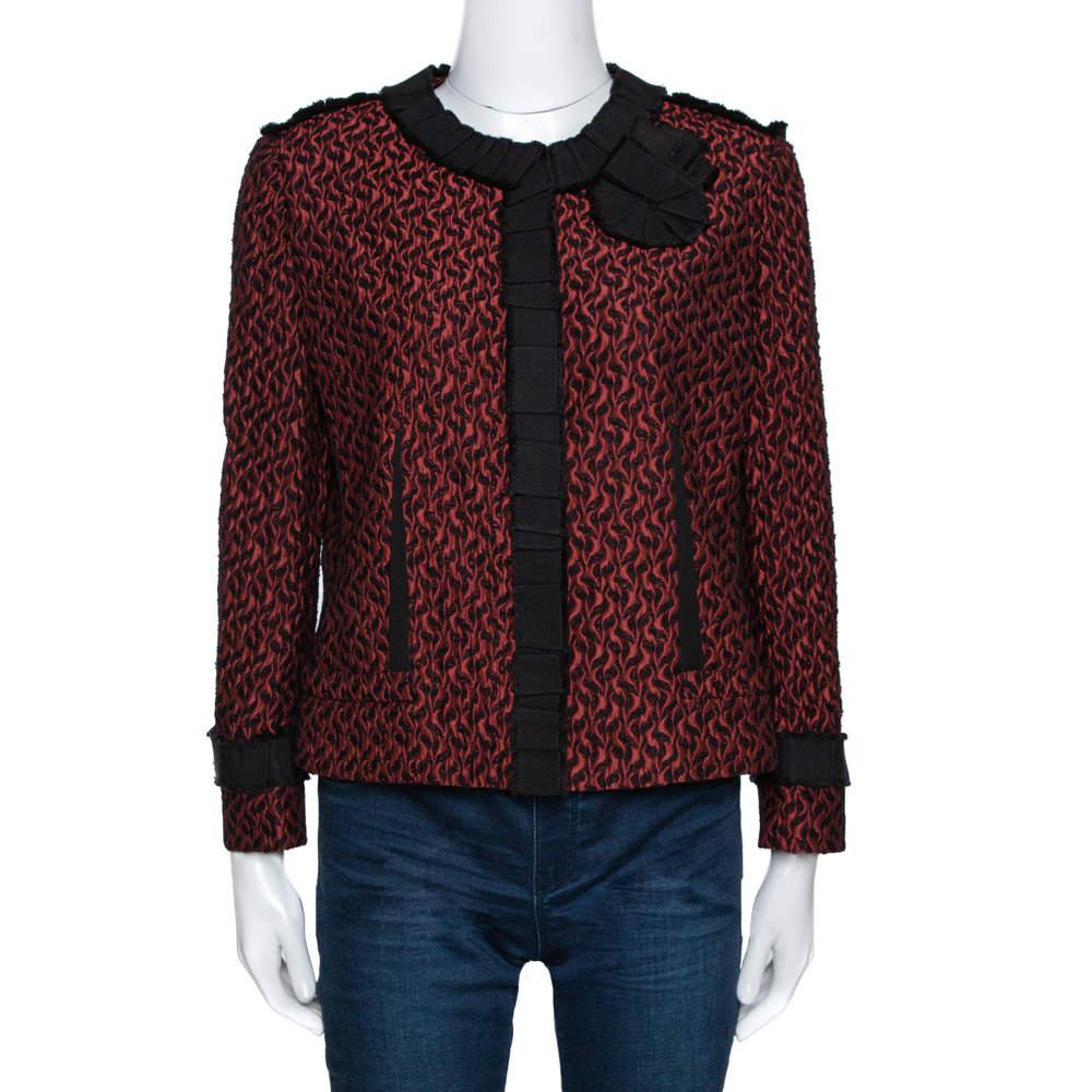 Dolce & Gabbana Scarlet Textured Jacquard Grosgrain Trim Detail Jacket L