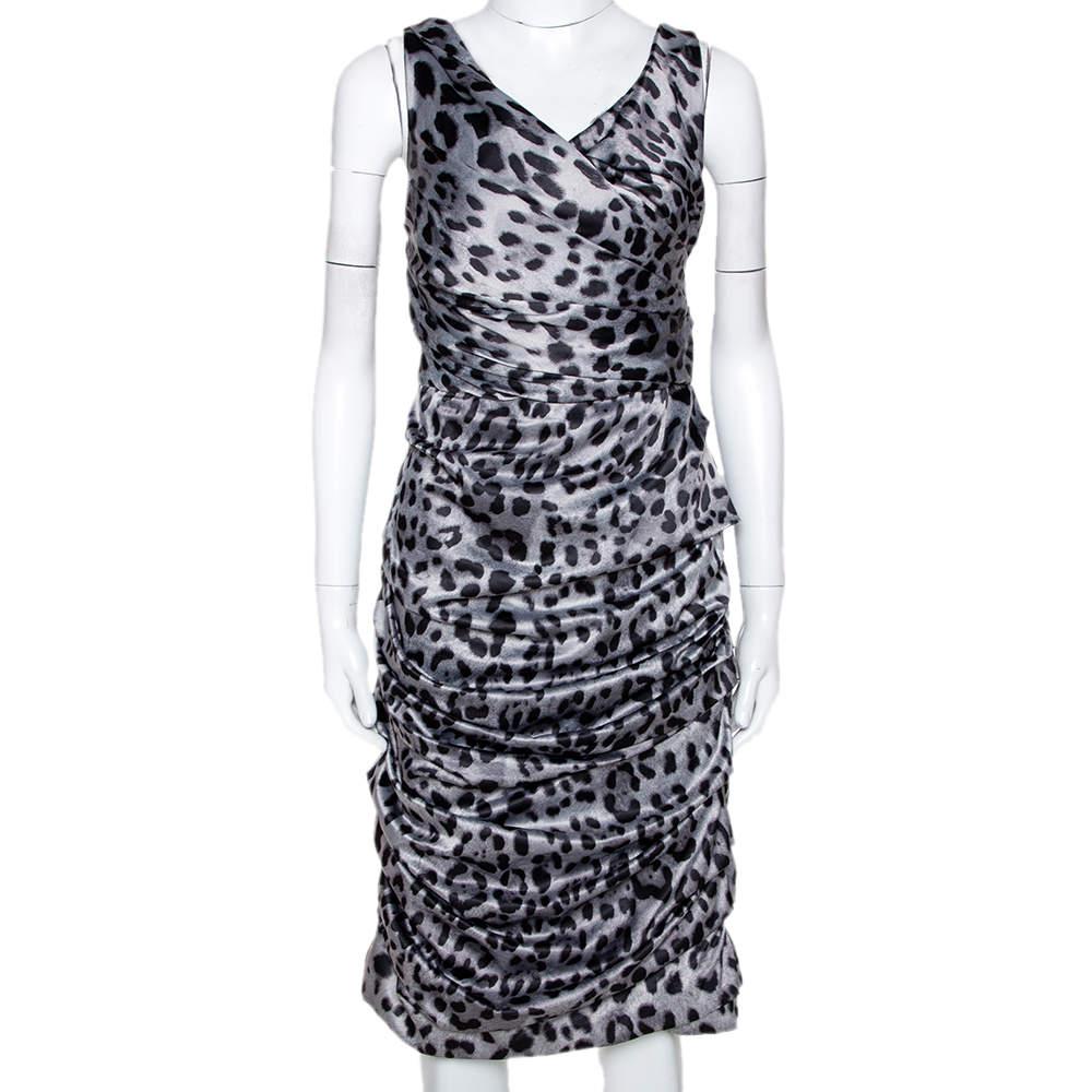 Dolce & Gabbana Grey Animal Print Silk Ruched Sleeveless Dress M