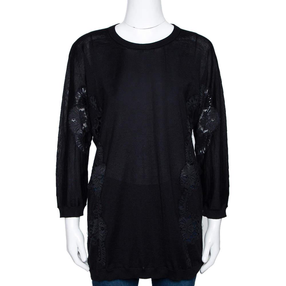 Dolce & Gabbana Black Cashmere Silk Lace Trim Long Sleeve Top L