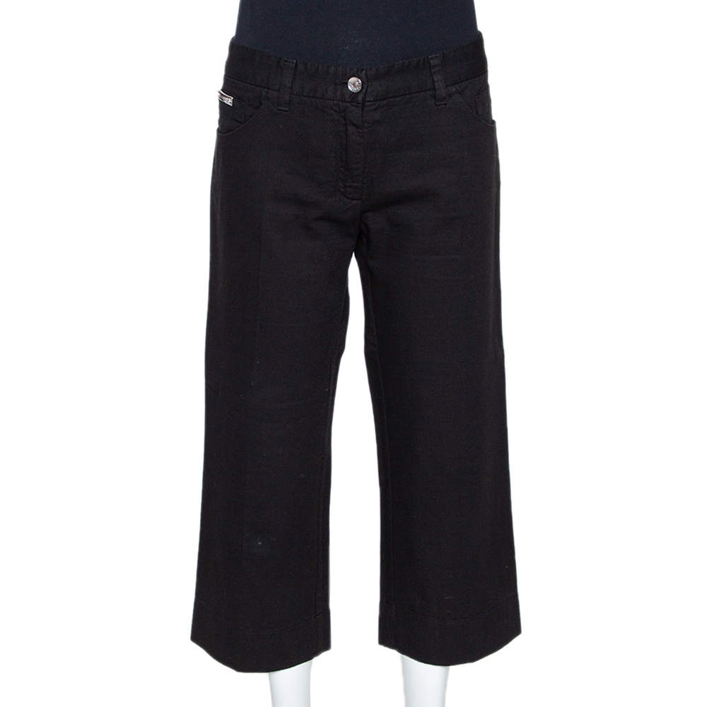 Dolce & Gabbana Black Denim Straight Leg Cropped Jeans L