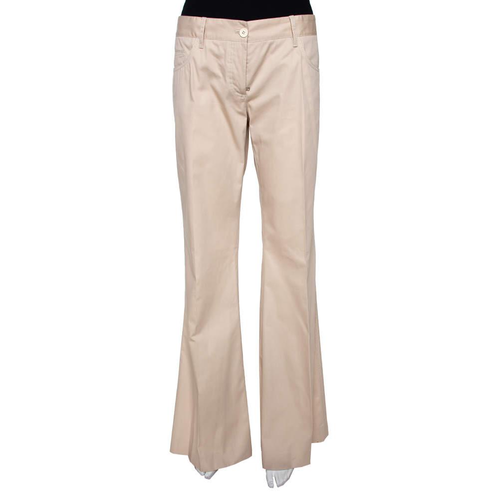 Dolce & Gabbana Beige Cotton Silk Flared Pants M