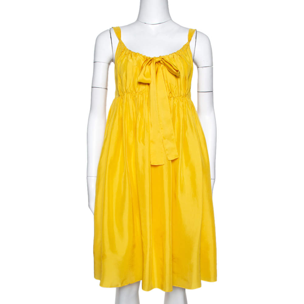 Dolce & Gabbana Yellow Silk Gathered Empire Dress M