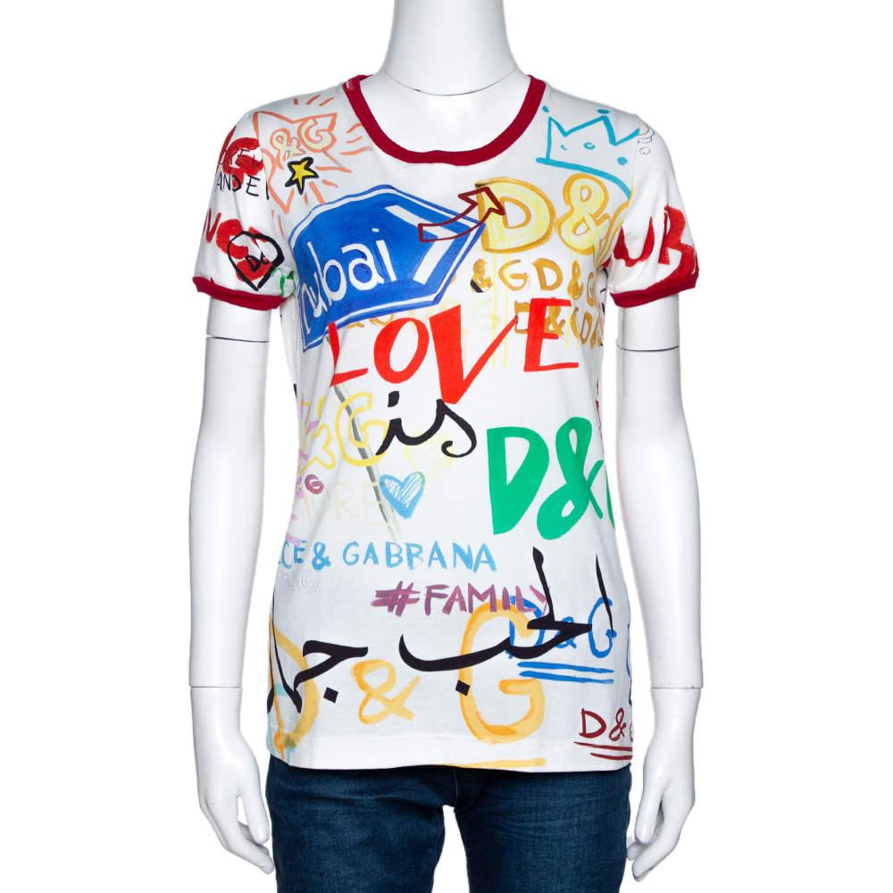 Dolce & Gabbana Exclusive Multicolor Dubai Graffiti Print T Shirt M