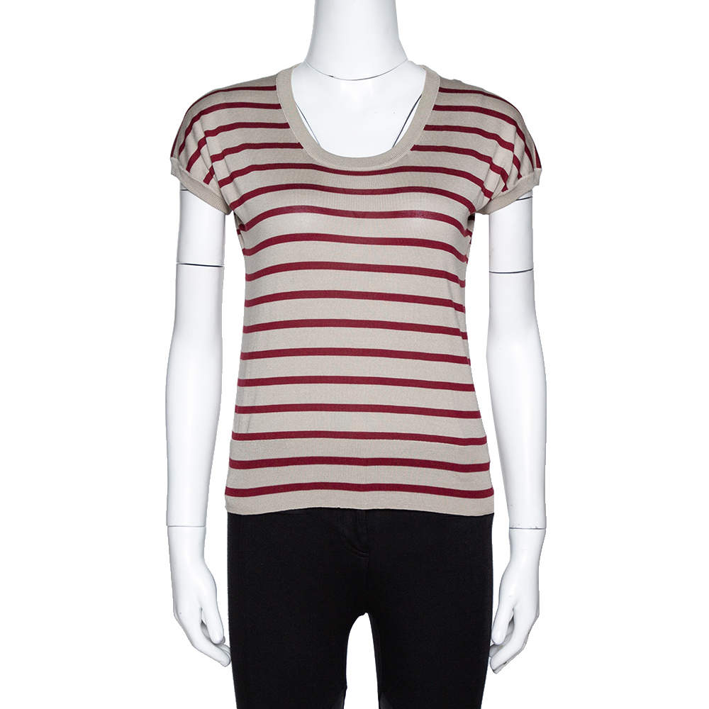 Dolce & Gabbana Beige Striped Silk Knit Top M