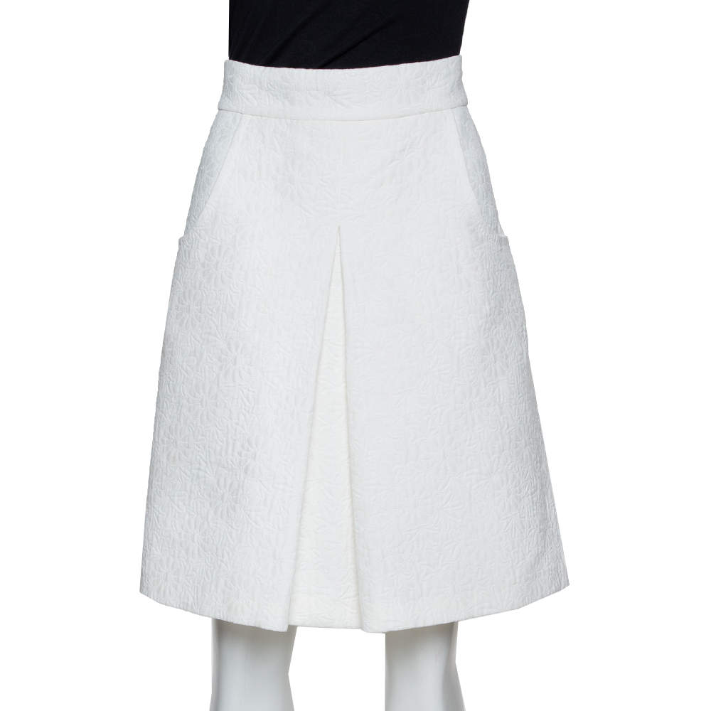 Dolce & Gabbana White Daisy Cotton Jacquard A-Line Skirt M