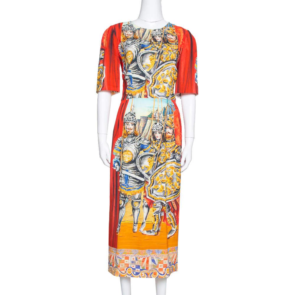 Dolce & Gabbana Multicolor Soldiers Print Crepe Sheath Dress M