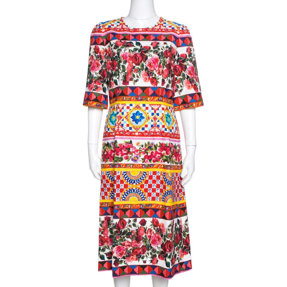 Dolce & Gabbana Multicolor Carretto Roses Print Cotton Midi Dress M