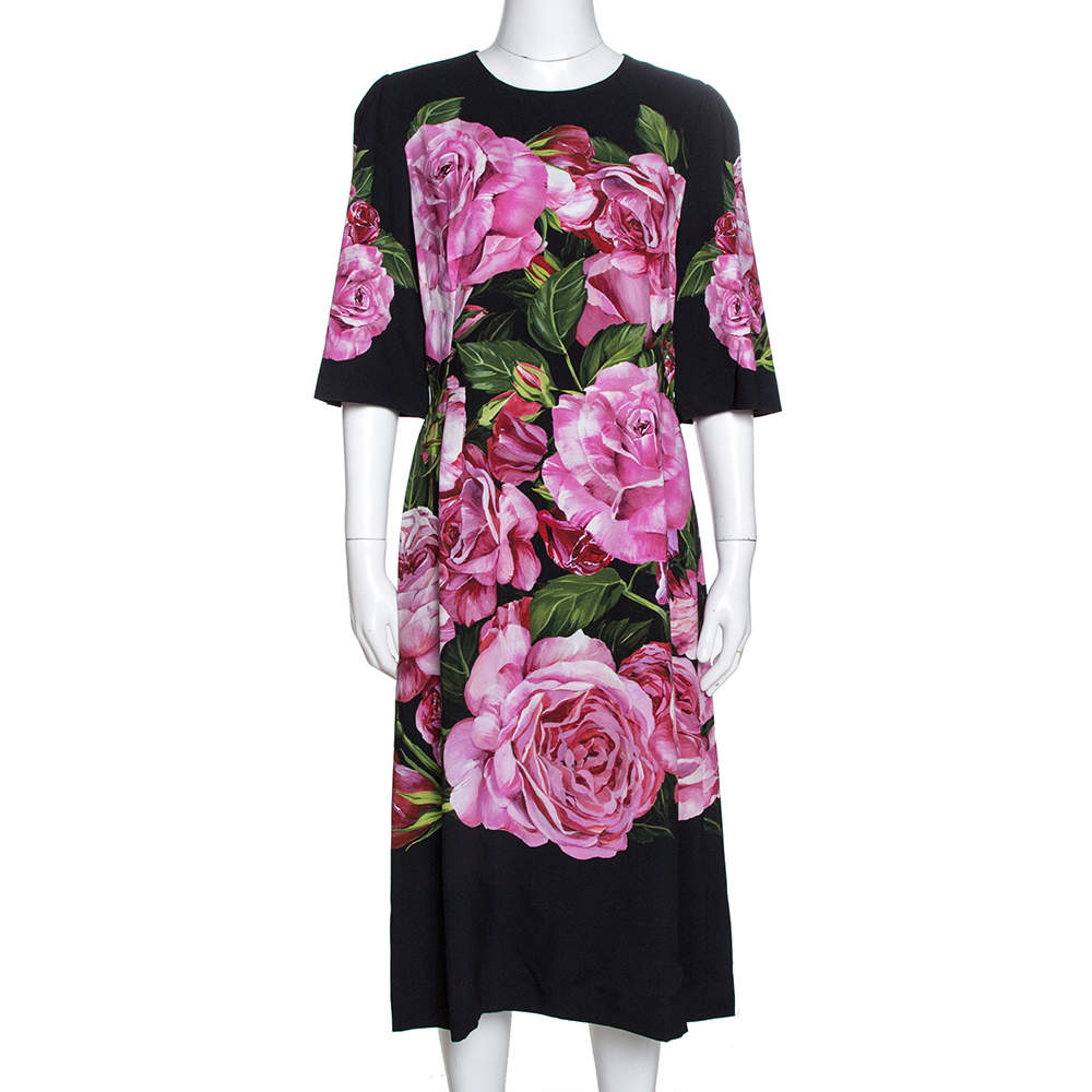 Dolce & Gabbana Black Rose Print Crepe Midi Dress M