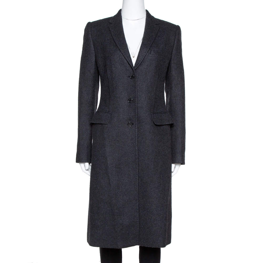 Dolce & Gabbana Black Felted Wool Mid Length Coat M