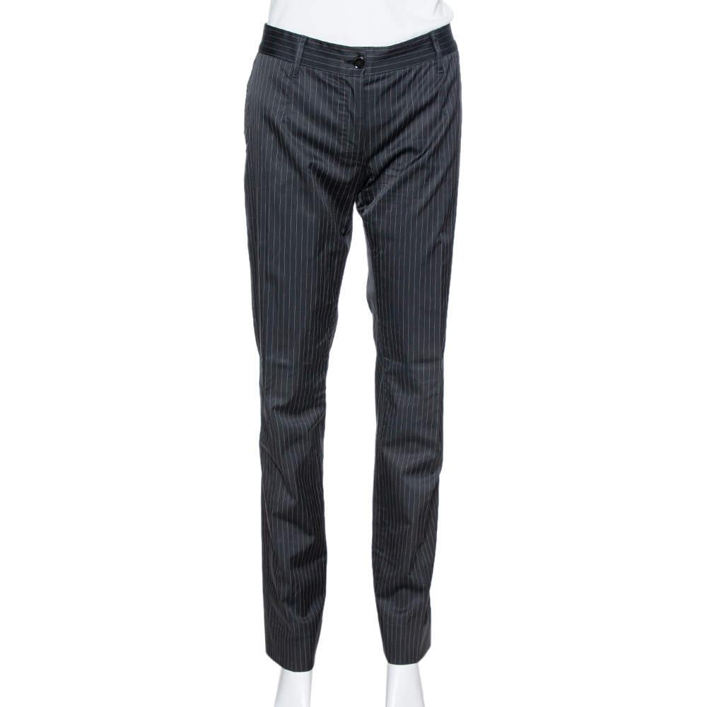 Dolce & Gabbana Black Pinstriped Cotton Tailored Pants M