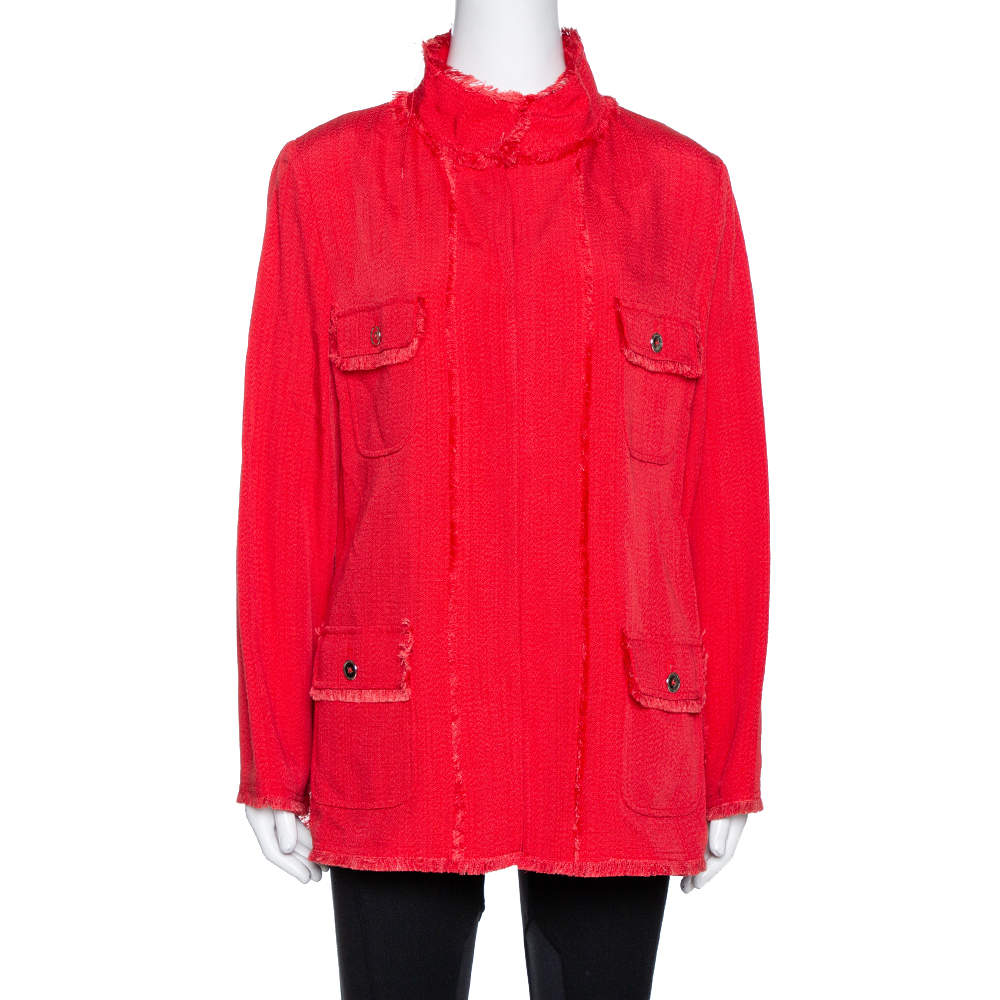 Dolce & Gabbana Red Fringed Button Front Jacket L