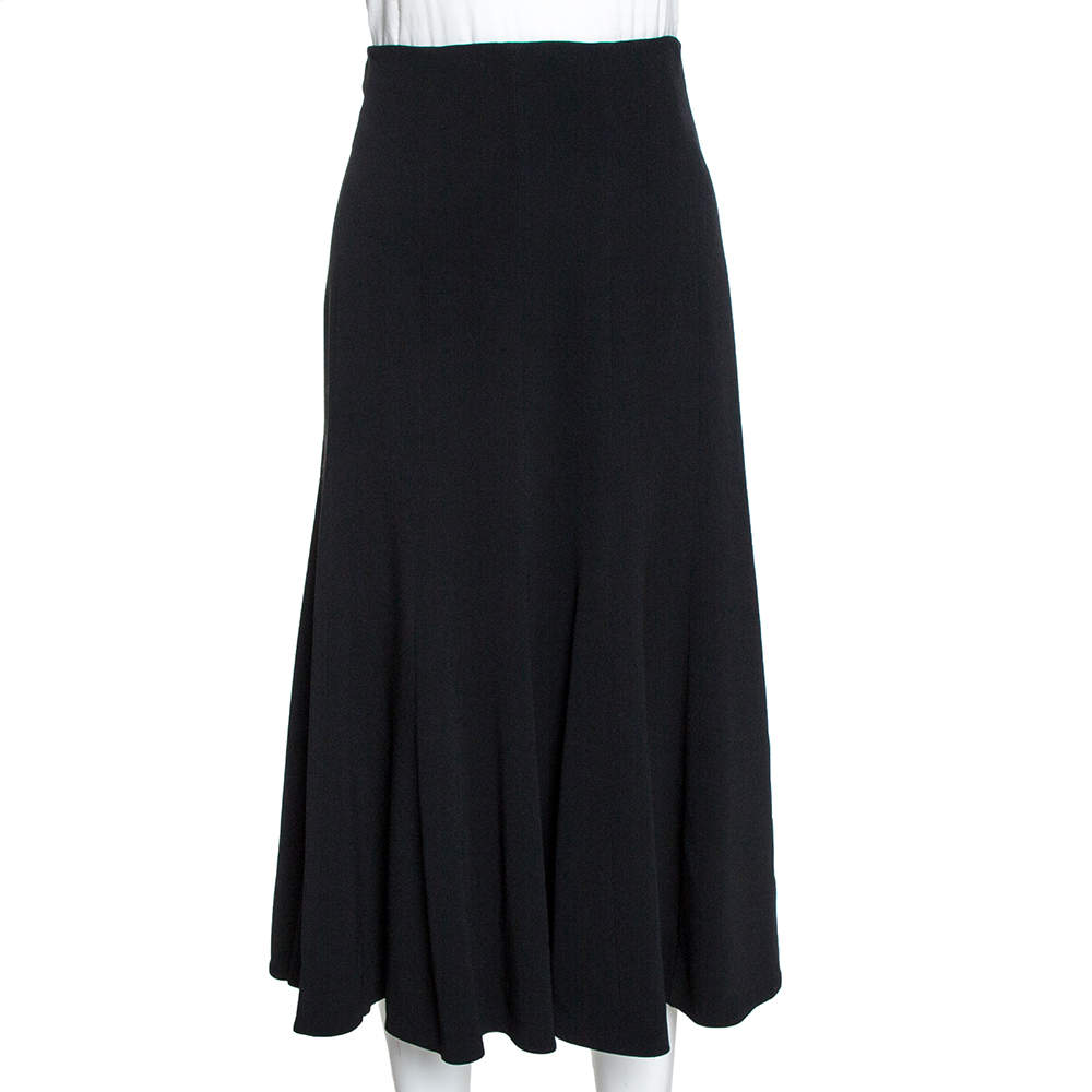 Dolce & Gabbana Black Crepe Flared Midi Skirt M