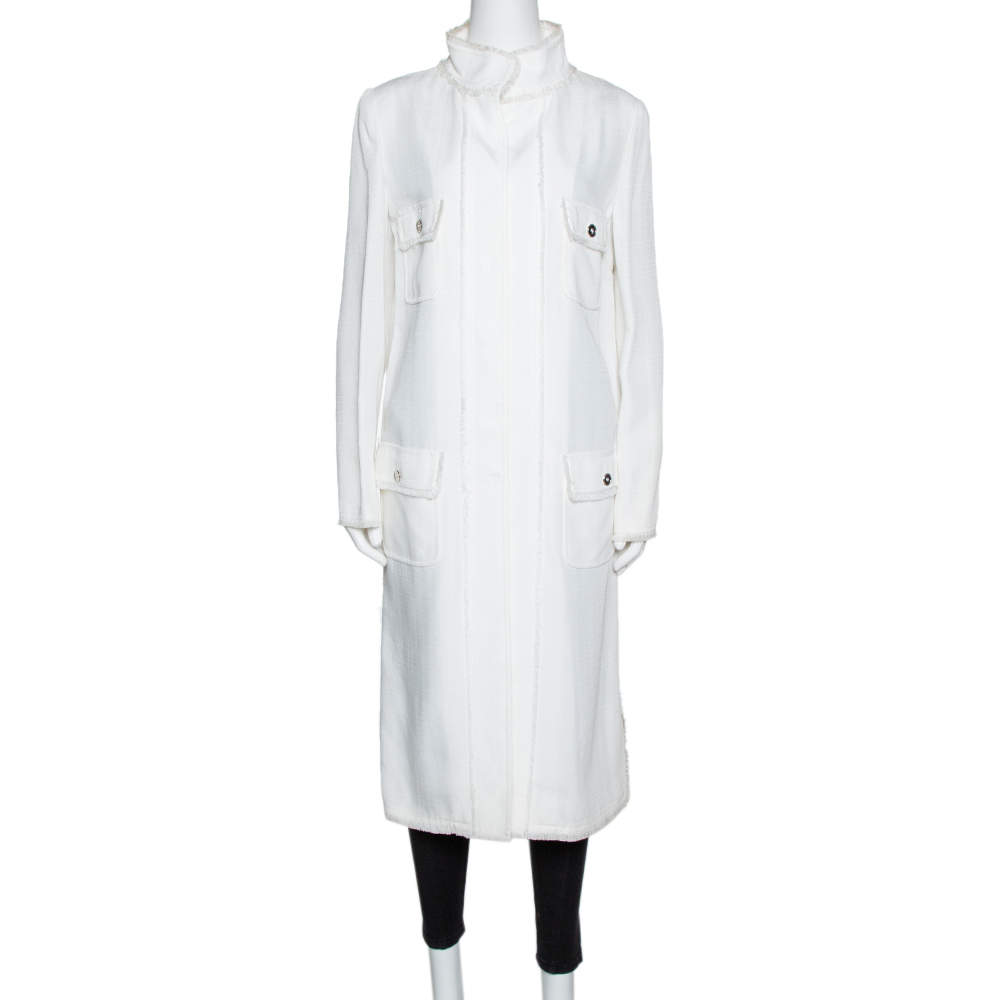 Dolce & Gabbana Ivory Fringed Button Front Mid Length Coat M