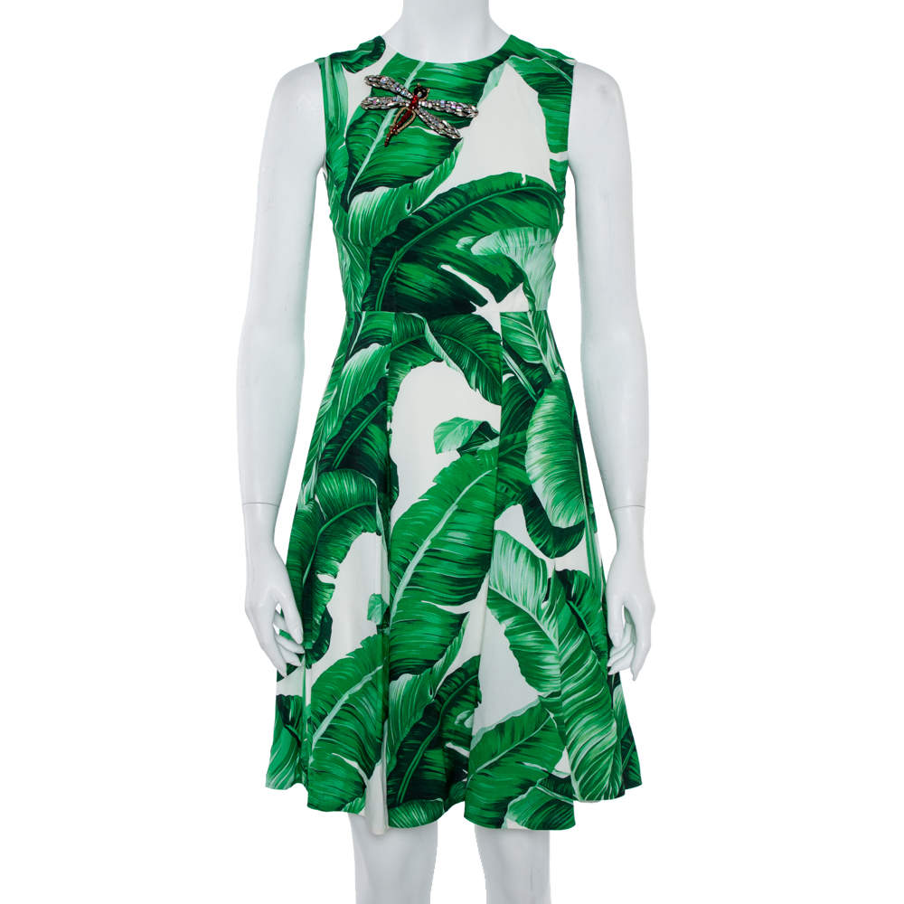 Dolce & Gabbana White & Green  Banana Leaf Print Libellula Detail Short Dress XS