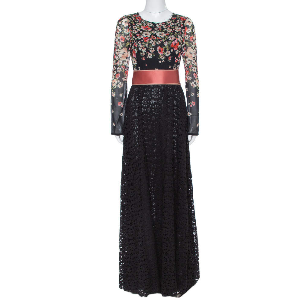 Dolce & Gabbana Black Floral Printed Chiffon & Lace Trim Maxi Dress M