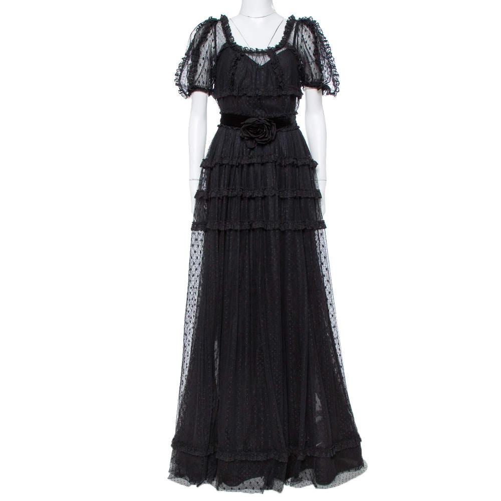 Dolce & Gabbana Black Tulle Ruffle Lace Detail Flared Maxi Dress S