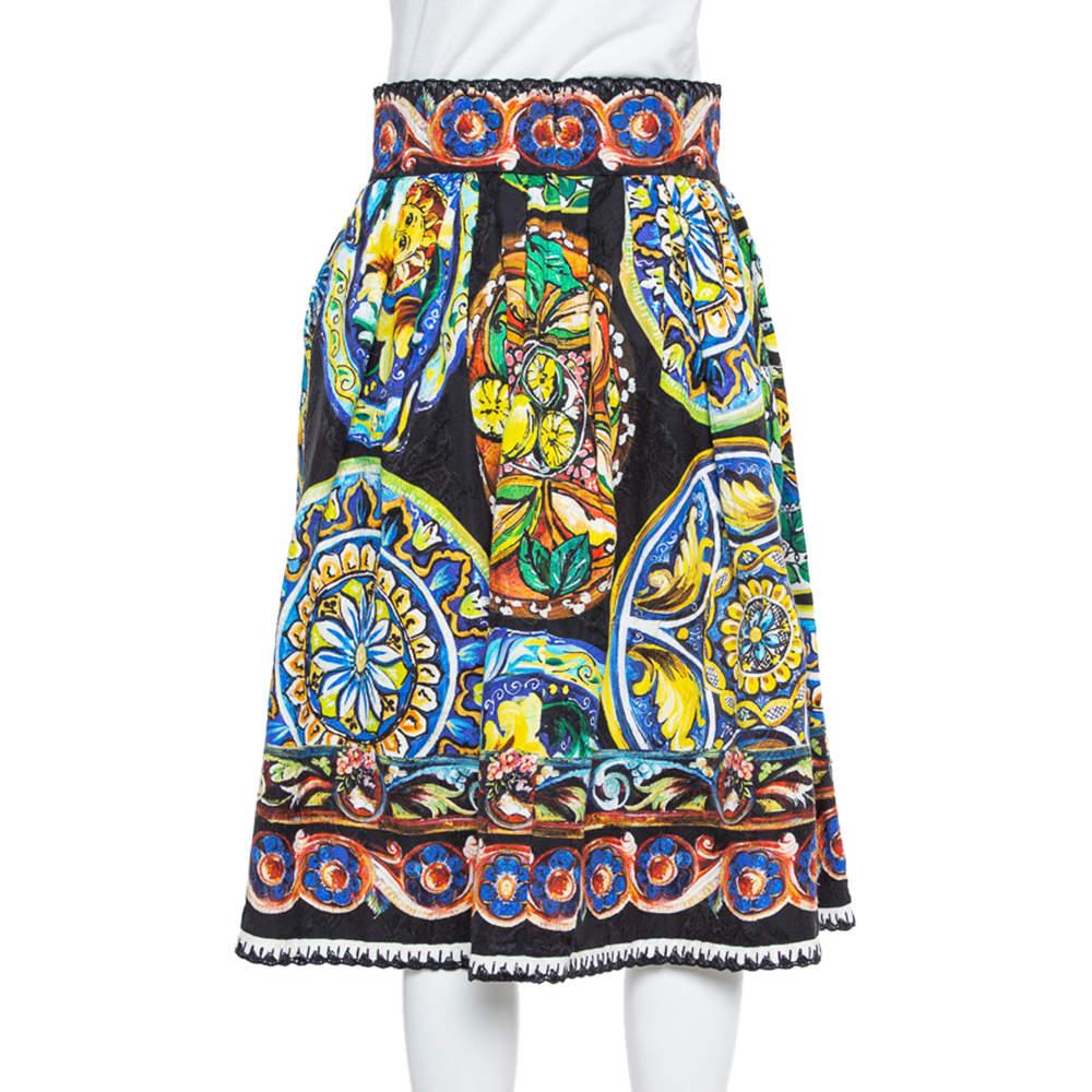 Dolce & Gabbana Multicolor Floral Printed Jacquard Pleated Midi Skirt S