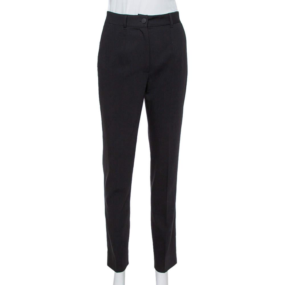 Dolce & Gabbana Black Wool Crepe High Waist Trousers S