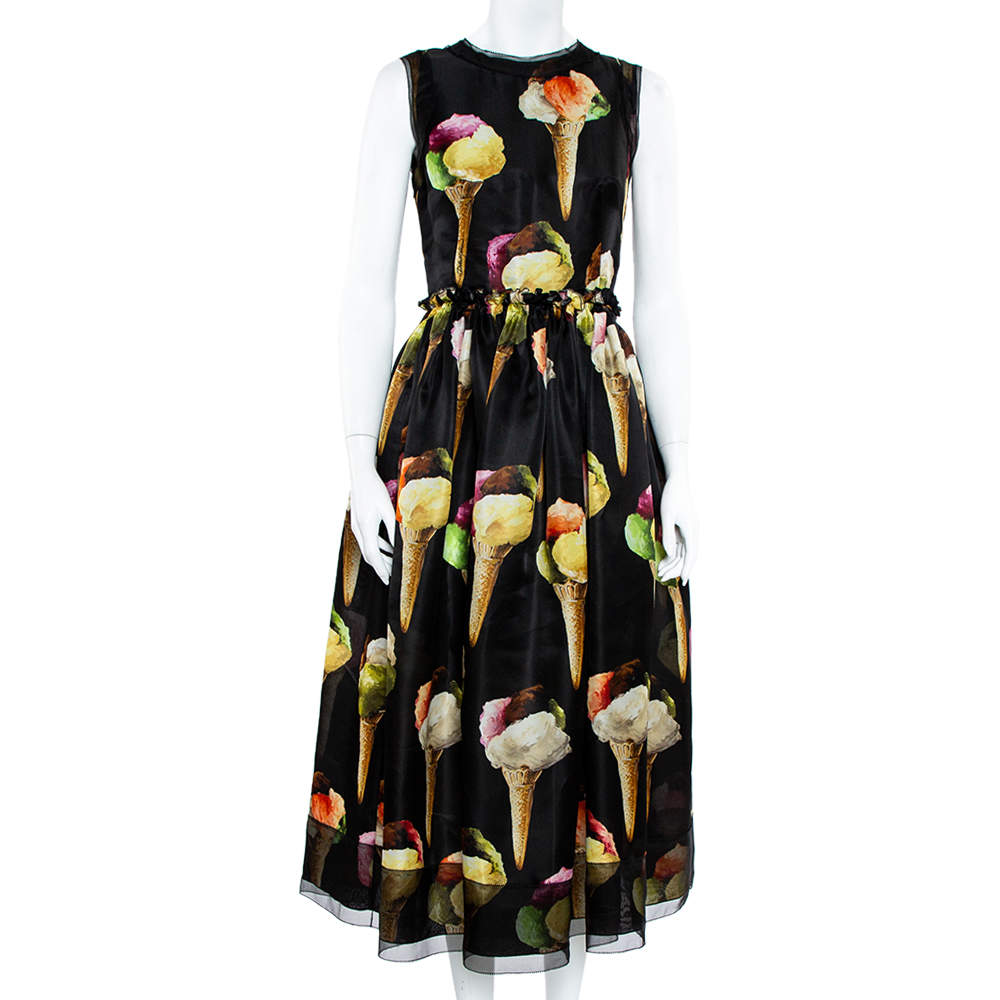 Dolce & Gabbana Black Silk Gelato Print Sleeveless Midi Dress S