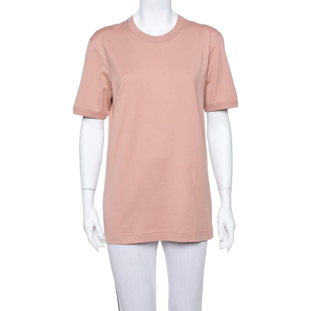 Dolce & Gabbana Salmon Pink Cotton Crewneck T Shirt L