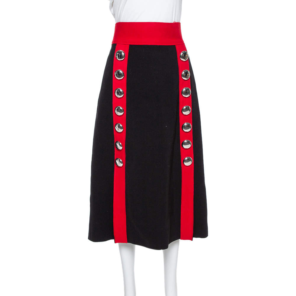 Dolce & Gabbana Black and Red Stretch Wool Button Detail Midi Skirt M