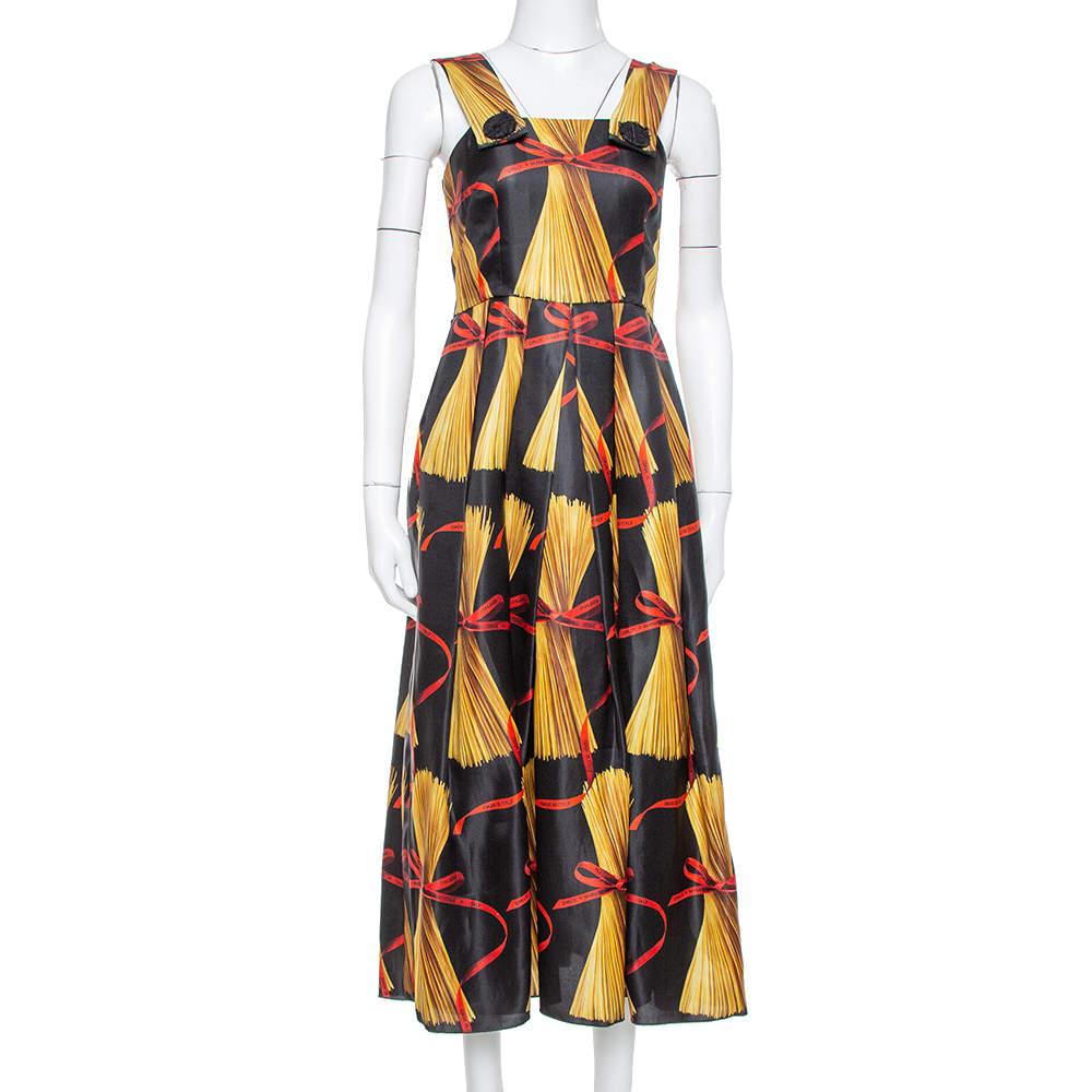 Dolce & Gabbana Black Spaghetti Printed Silk Organza Midi Dress M