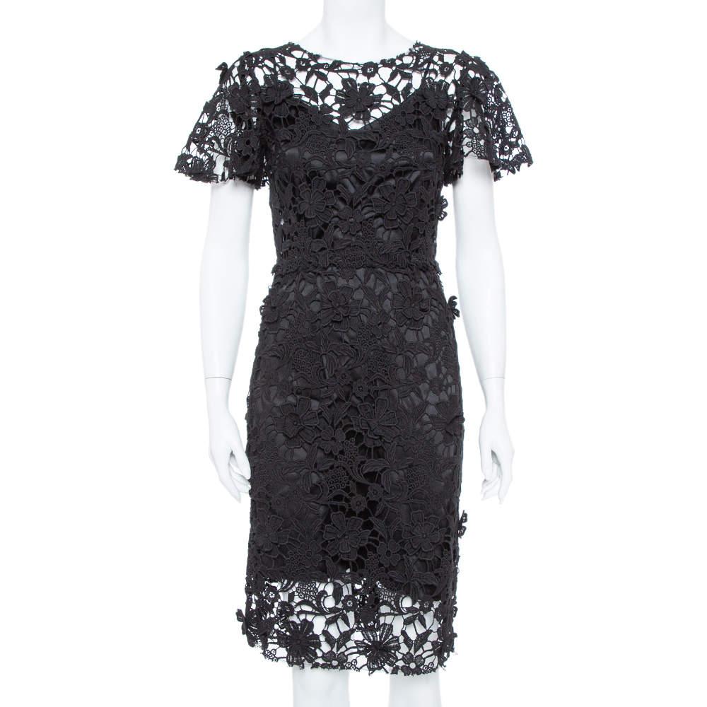 Dolce & Gabbana Black Guipure Lace Sheath Dress M
