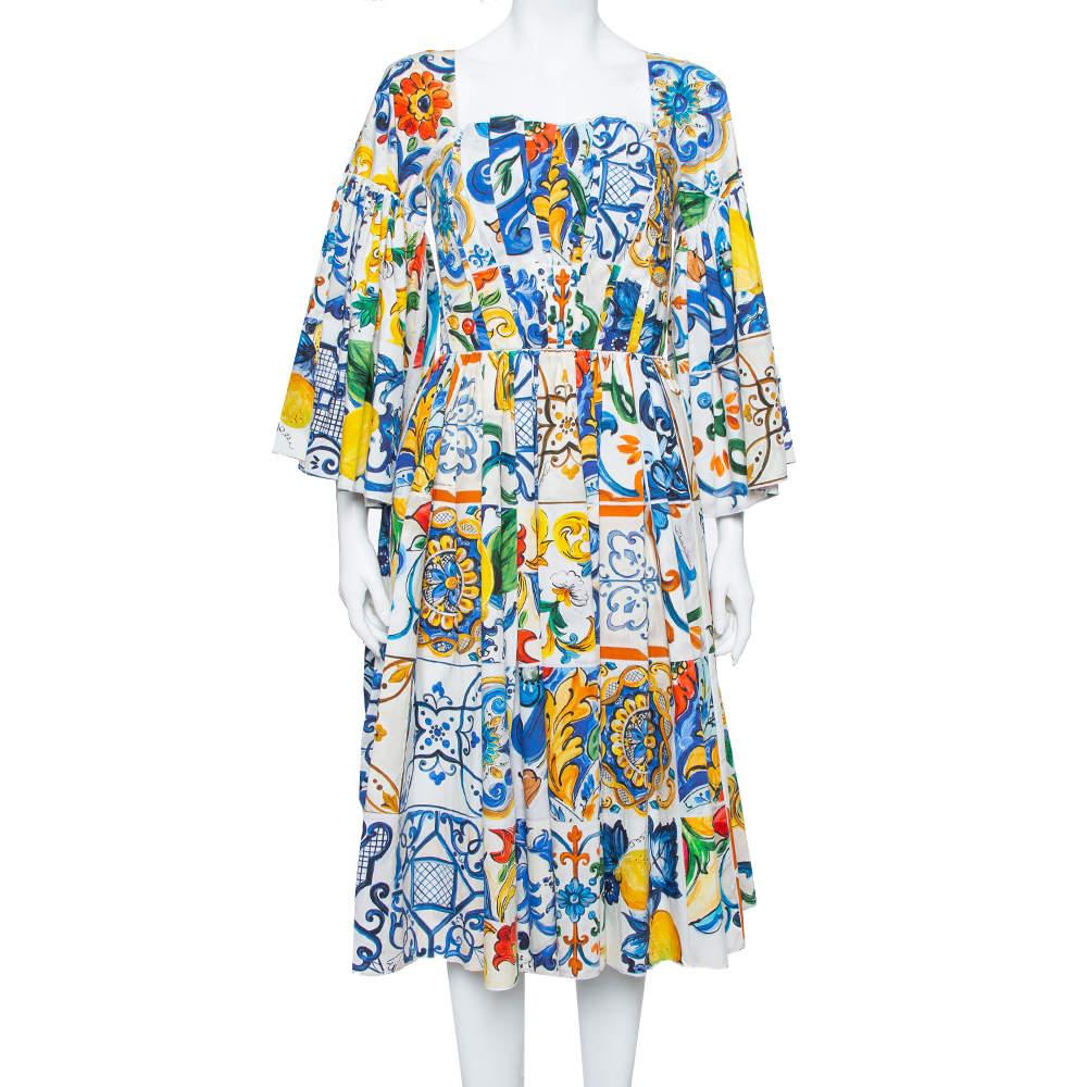 Dolce & Gabbana Multicolor Majolica Printed Cotton Flared Midi Dress S