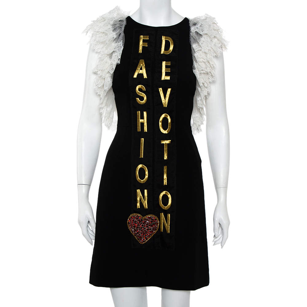 Dolce & Gabbana Black Crepe Lace Detail Fashion Devotion Dress XS