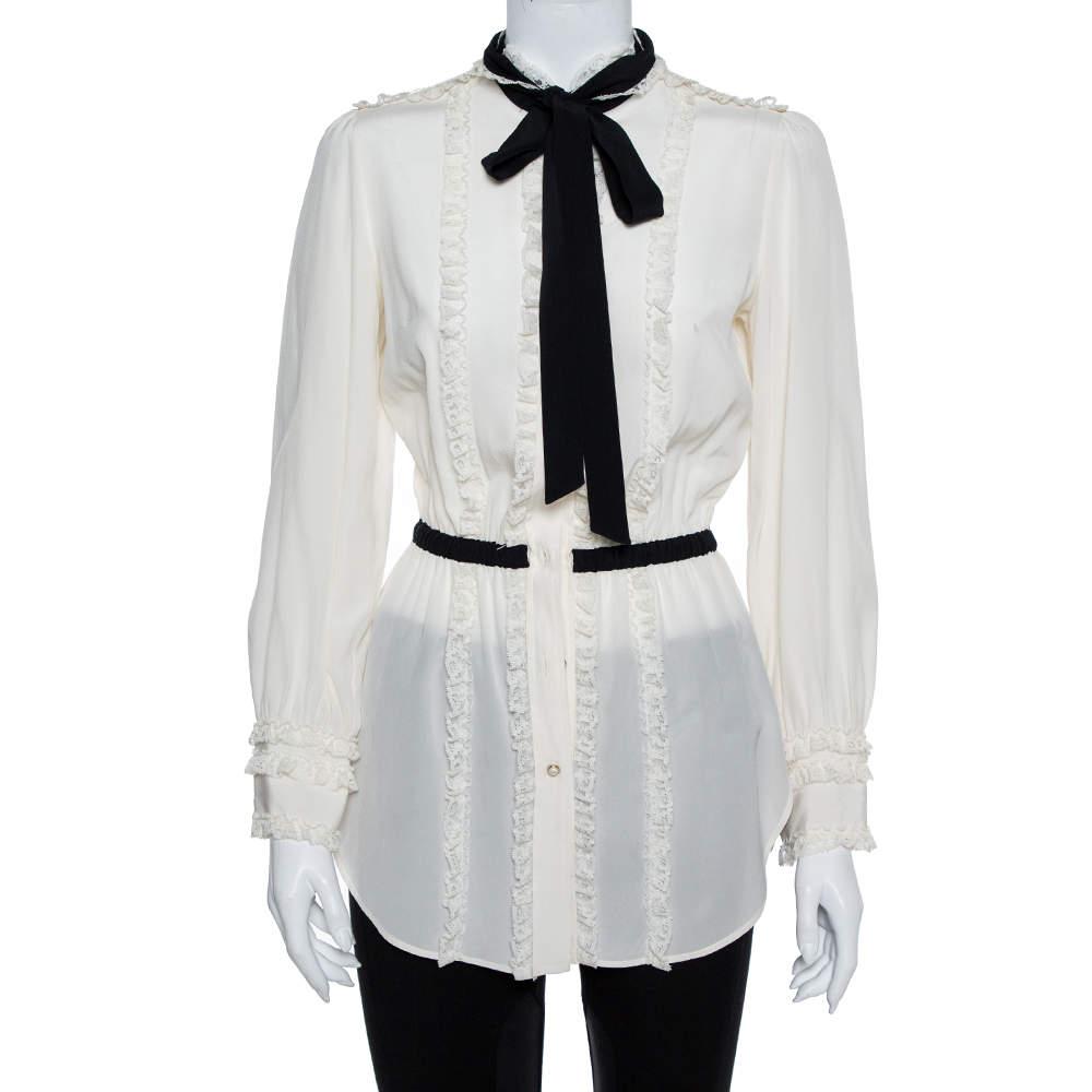 Dolce & Gabbana Cream Silk & Lace Contrast Neck Tie Detail Tunic S