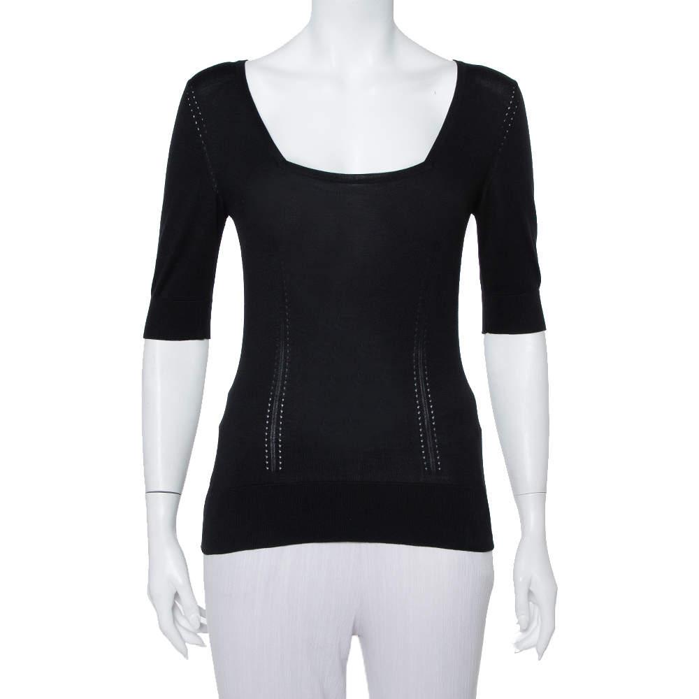Dolce and Gabbana Black Silk Knit Top S