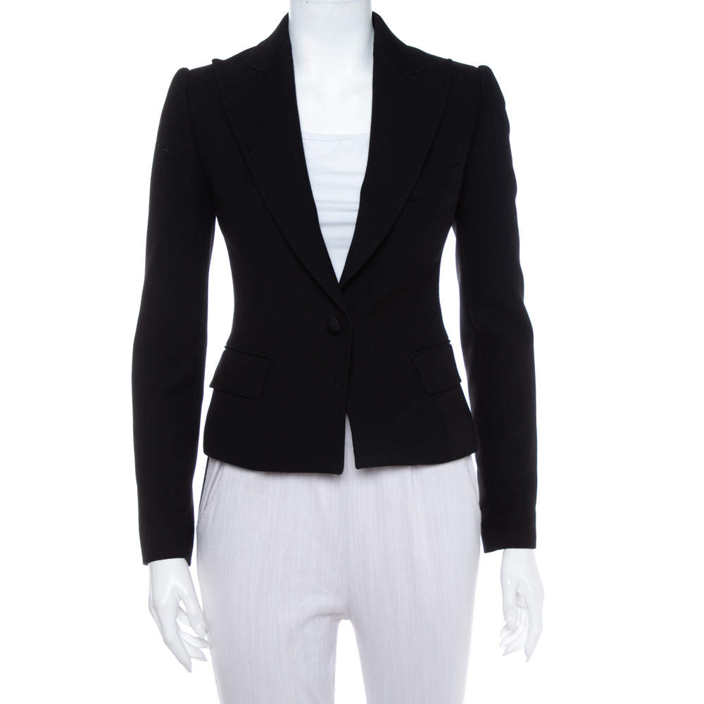 Dolce & Gabbana Black Wool Button Front Cropped Blazer S