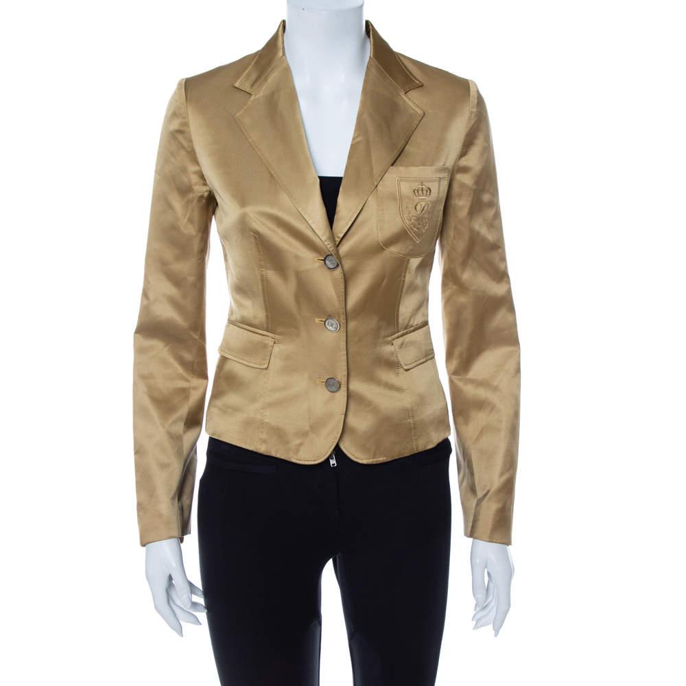 Dolce & Gabbana Gold Silk Satin Logo Embroidery Detail Blazer S