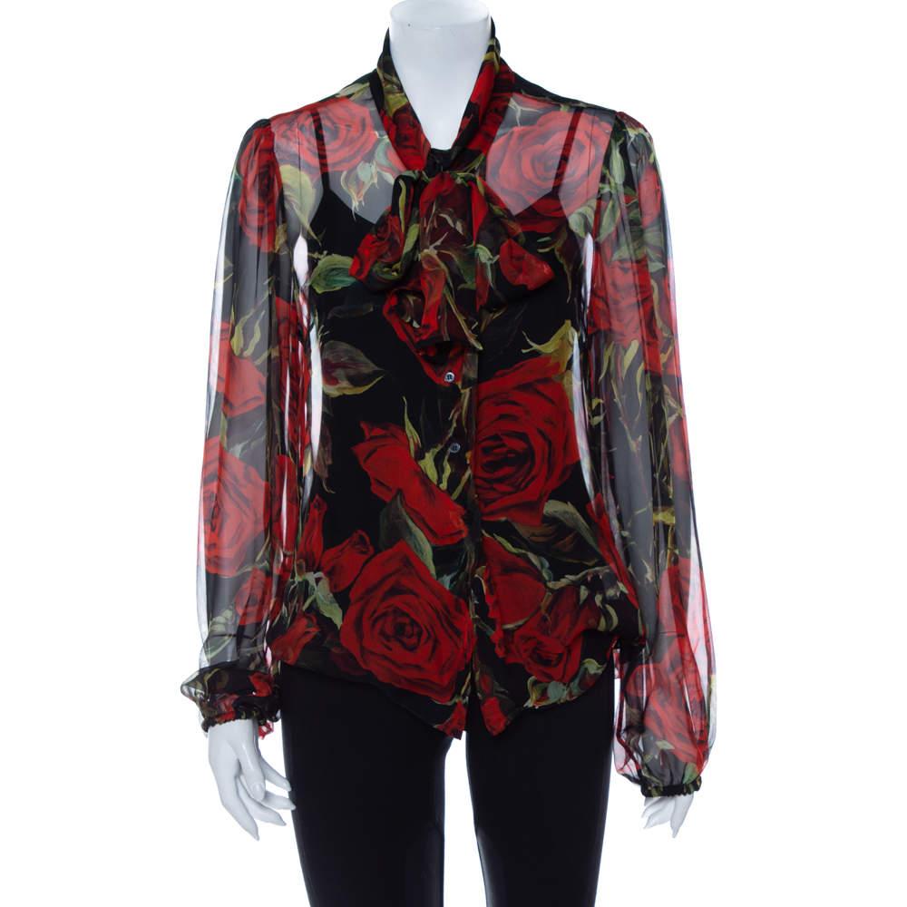 Dolce & Gabbana Black Rose Printed Silk Neck Tie Detail Top L