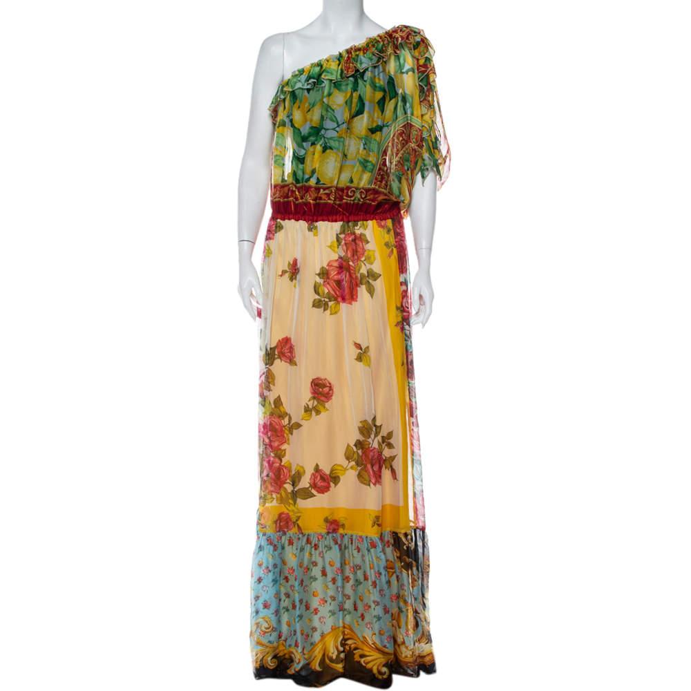 فستان ماكسي دولتشي أند غابانا حرير مطبوع متعدد الألوان بكتف واحد مقاس متوسط - ميديوم