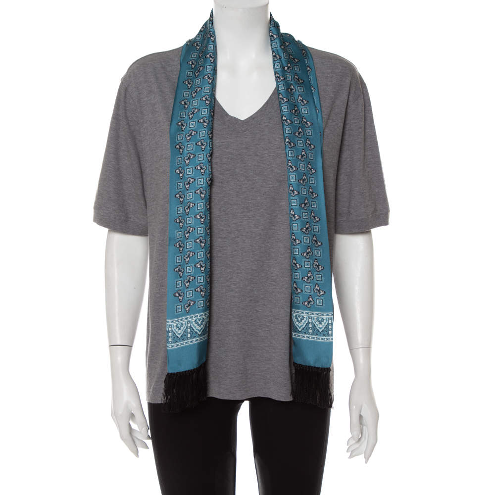 Dolce & Gabbana Grey Cotton V-Neck T-Shirt with Butterfly Printed Tasseled Silk Scarf S