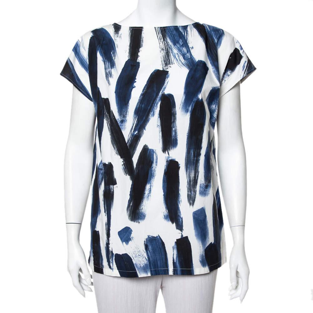Dolce & Gabbana Blue Cotton Brushstroke Print Short Sleeve Tunic Top M