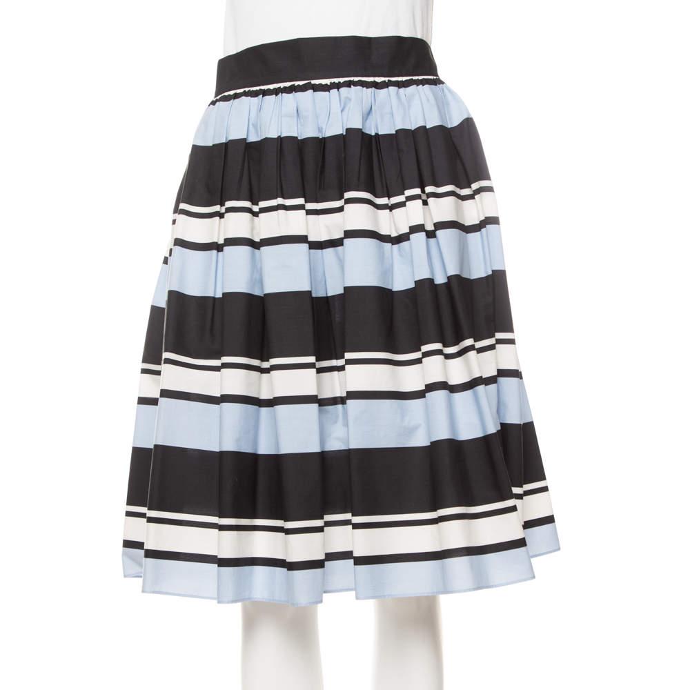 Dolce & Gabbana Blue Striped Cotton Flared Mini Skirt M