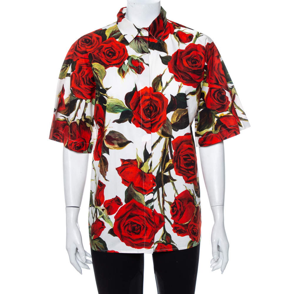 Dolce & Gabbana White Rose Printed Cotton Button Front Shirt M