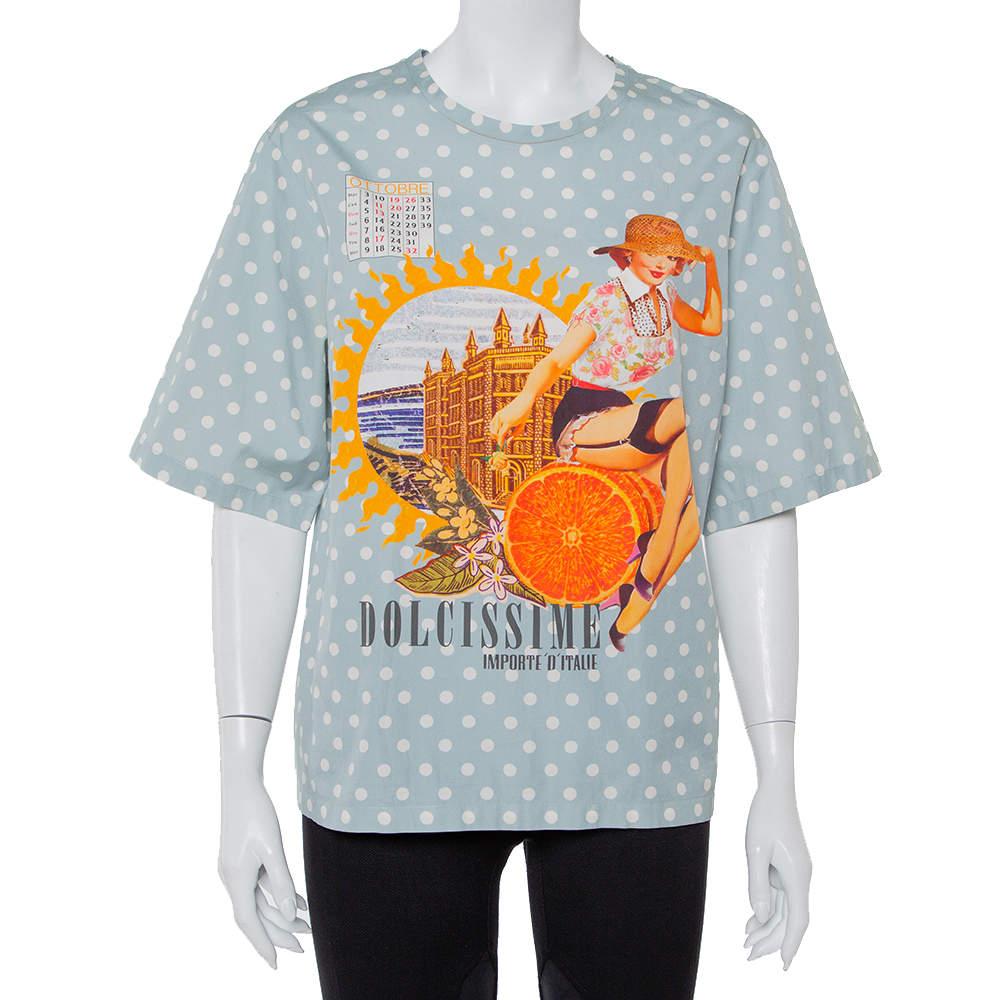 Dolce & Gabbana Grey Polka Dots Cotton Dolce Vita Calendar Girl T-Shirt L
