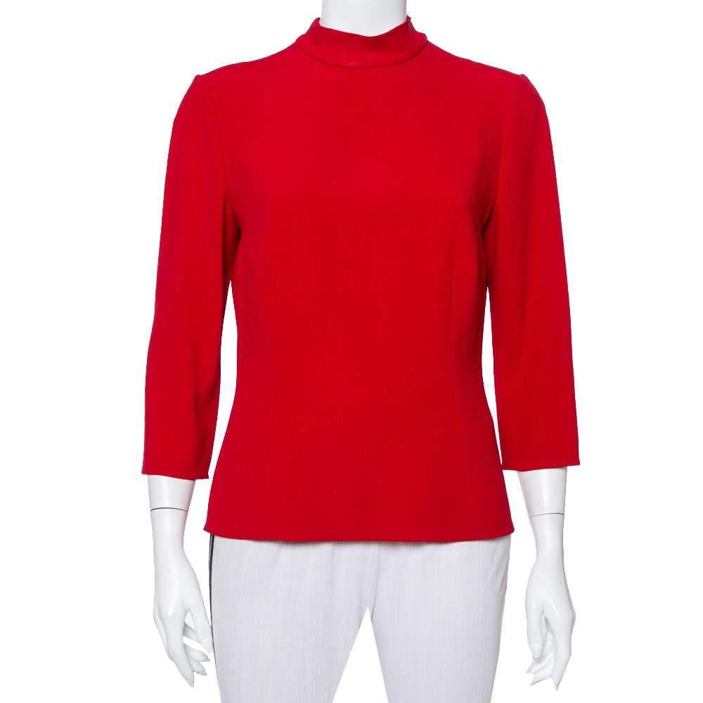 Dolce & Gabbana Red Silk Back Tie Detail High Neck Top L
