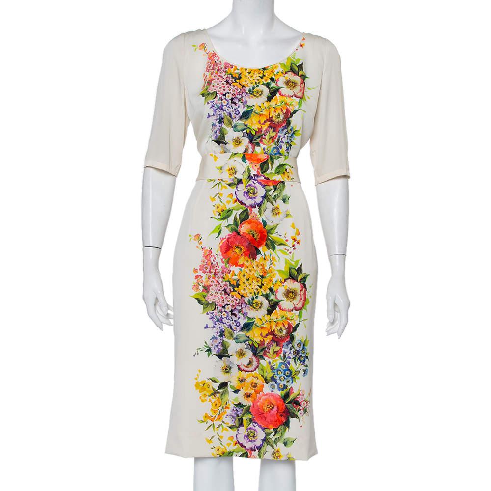 Dolce & Gabbana Cream Floirette Printed Silk Top & Knee Length Skirt Set M