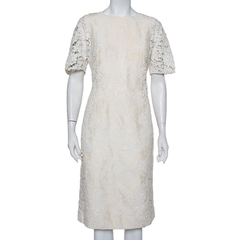 Dolce & Gabbana Cream Jacquard Crochet Trim Detail Midi Dress L