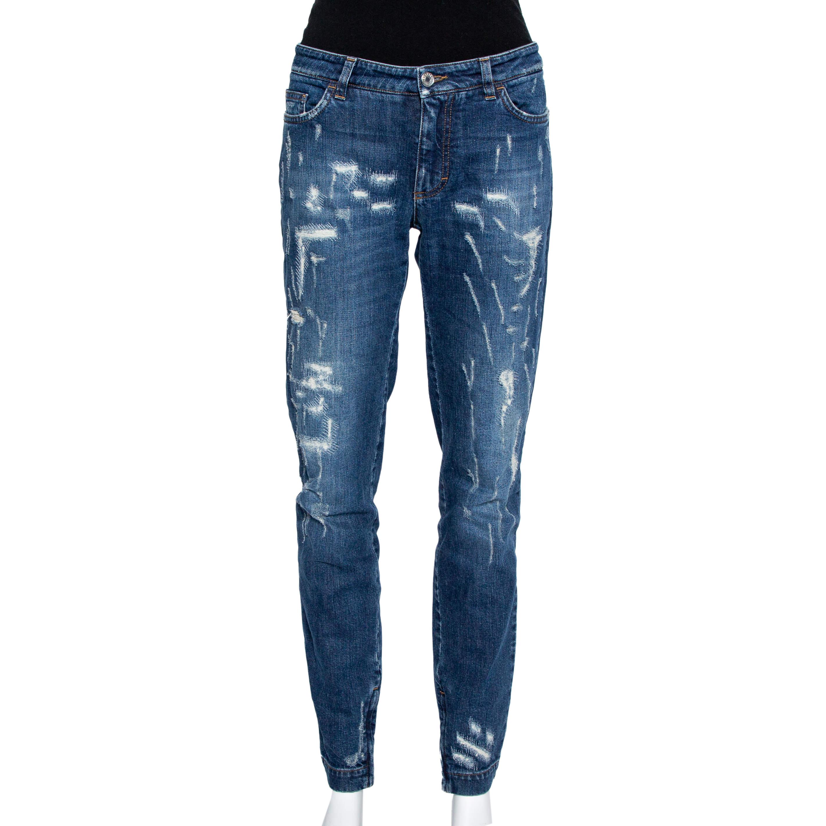 Dolce & Gabbana Navy Blue Denim Distressed Zip Detail Pretty Jeans L